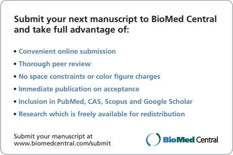 Submit your next manuscript to BioMed Central and take full advantage of: • Convenient online