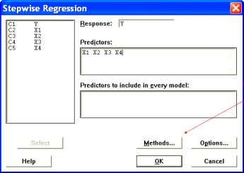 MINITAB: Stat → Regression → Stepwise Untuk memilih Stepwise, Forward, atau Backward