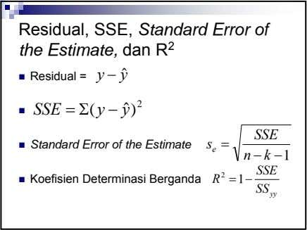 Residual, SSE, Standard Error of the Estimate, dan R 2 Residual = y − yˆ
