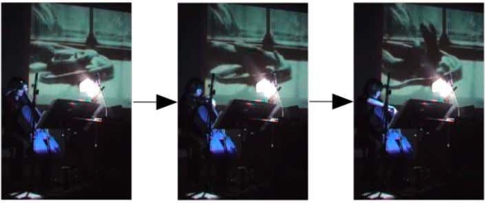 Fig. 3 Transduction from image to performing gesture and sound in Javier Álvarez's Le repas