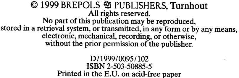 @1999BREPOLS~ PUBLISHERS,Turnhout All rights reserved. No part of this publication maybe reproduced, stor~d in a