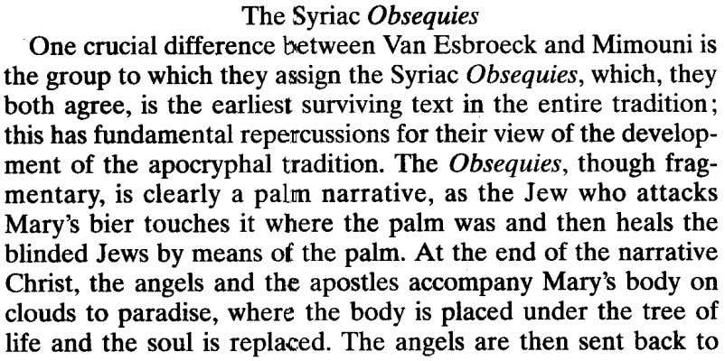 The Syriac Obsequies One crucial difference between Van Esbroeckand Mimouni is the group to which