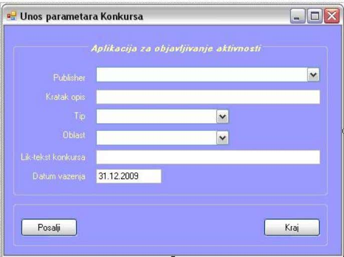 Figure 3.4. Client interface of UpdateKonkurs service 3.3. Creation of a service for the design