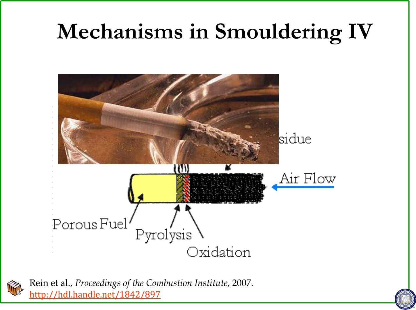 Mechanisms in Smouldering IV Rein et al., Proceedings of the Combustion Institute, 2007. http://hdl.handle.net/1842/897
