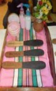 transporting manicuring and pedicuring tools and materials. MATERIALS are the cosmetics and supplies that are consumed