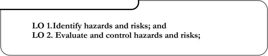 LO 1.Identify hazards and risks; and LO 2. Evaluate and control hazards and risks;