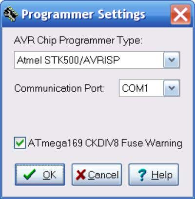 "Figure 2-1 will open. Figure 2-1. Programmer Settings. Set the AVR Chip Programmer Type to ""Atmel"