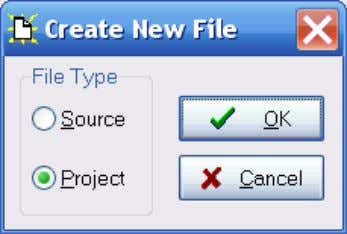 "3-1 will be displayed. Figure 3-1. New Project Dialog. Select ""Project"", press ""OK"", and the dialog"
