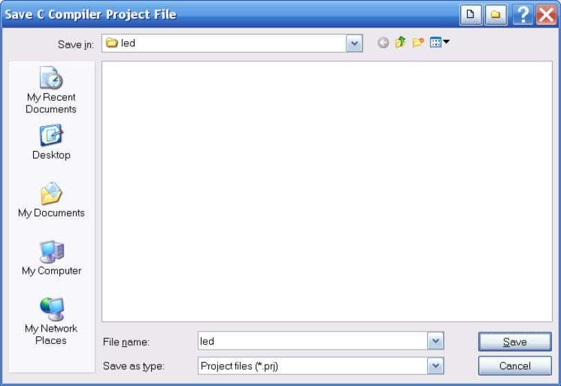 "Figure 7-2. Save Project Dialog. Here, specify the file name for the project, ""l ed.prj"", and"