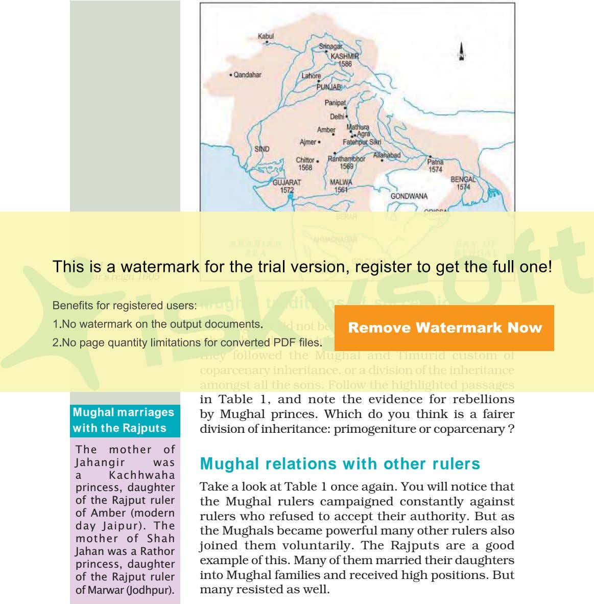 MapMap 11 Akbar's reign 1605 Mughal traditions of succession The Mughals did not believe in