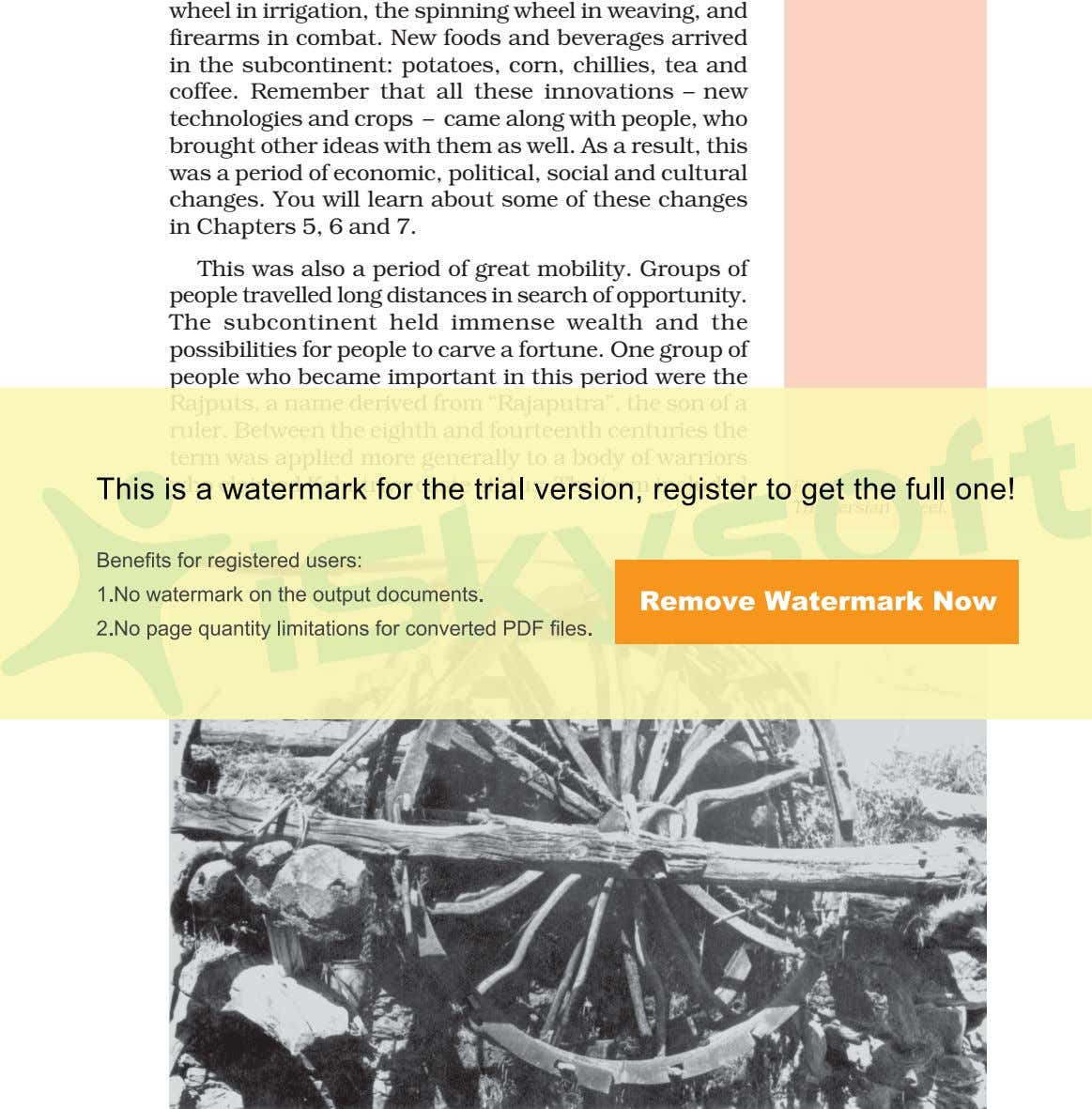 wheel in irrigation, the spinning wheel in weaving, and firearms in combat. New foods and
