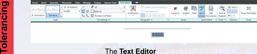 The Text Editor Tolerancing