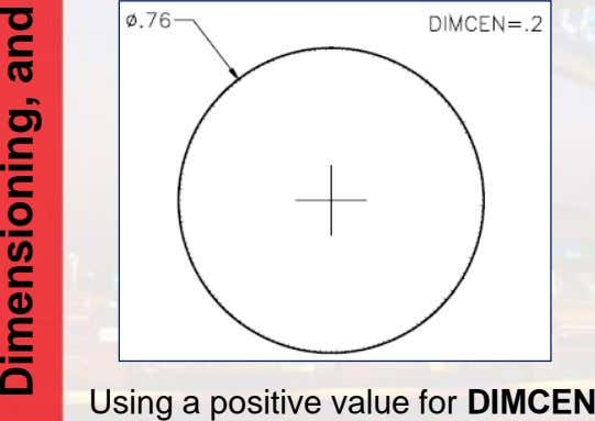 Using a positive value for DIMCEN andDimensioning,