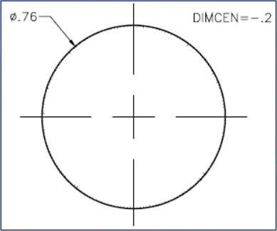 Mark Dimension > Center Mark Using a positive value for DIMCEN andDimensioning, Using a negative value