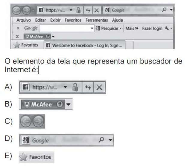parcial da tela do navegador Windows Internet Explorer. 13.(FUNCAB/PRODAM-AM/2014) No Windows, o local que exibe