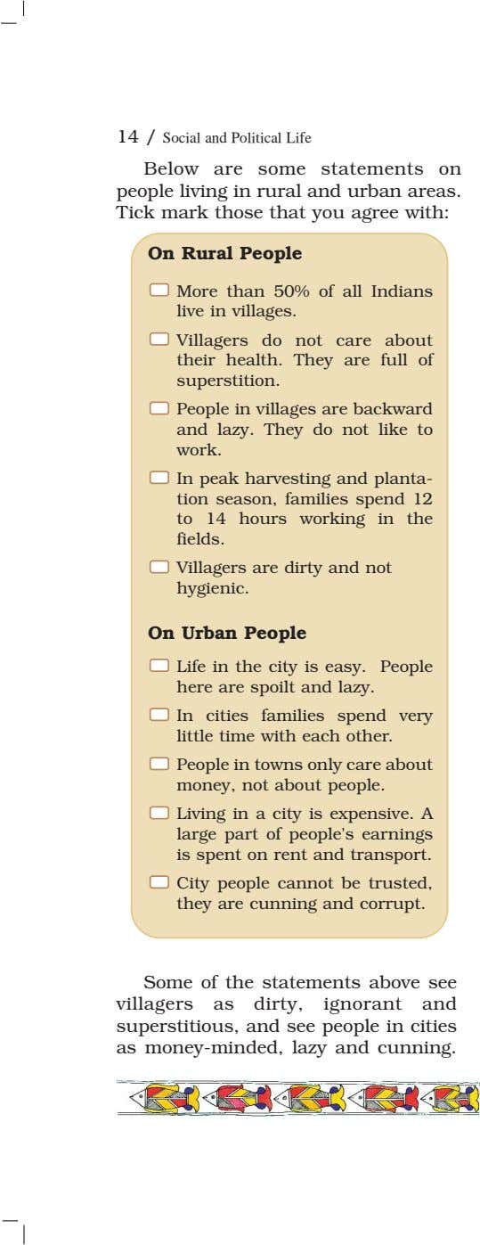 14 / Social and Political Life Below are some statements on people living in rural
