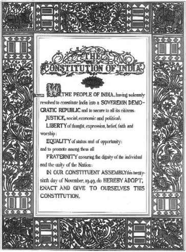 all Indians. QUESTIONS Diversity and Discrimination / 23 The first page of the Constitution that clearly