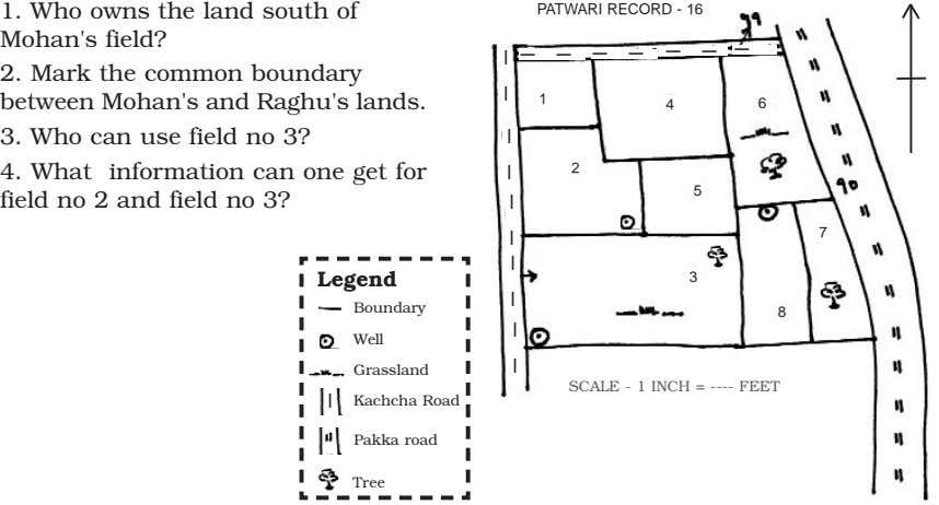 1. Who owns the land south of PATWARI RECORD - 16 Mohan's field? | 2.