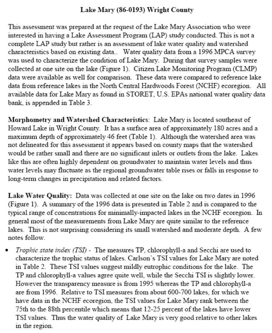 MPCA Lake Mary Assessments Notes 1997 12