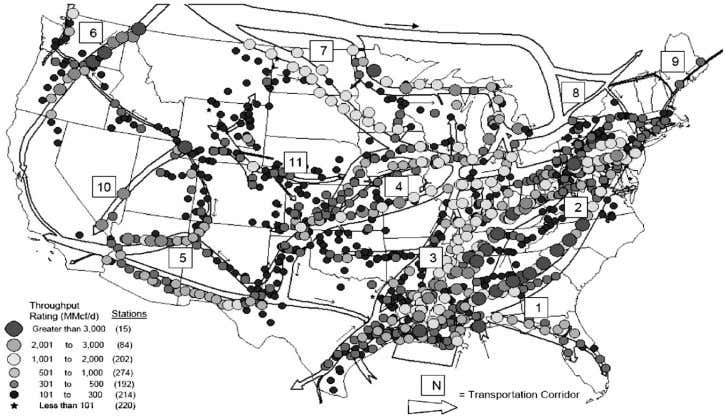 Figure 1 Interstate natural gas system mainline compressor stations, 2006 (US DOE 2007). cycle. In