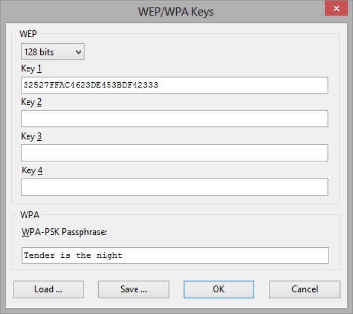 tool once you have entered a new WPA passphrase. To save the current key set, click