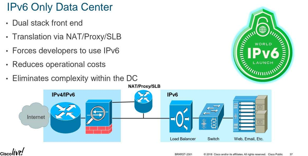 IPv6 Only Data Center • Dual stack front end • Translation via NAT/Proxy/SLB • Forces