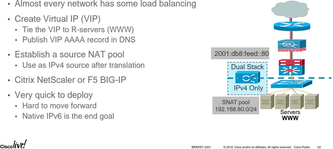 • Almost every network has some load balancing • Create Virtual IP (VIP) • Tie