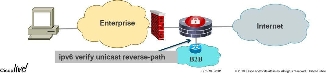 Enterprise Internet ipv6 verify unicast reverse-path B2B BRKRST-2301 © 2018 Cisco and/or its affiliates. All