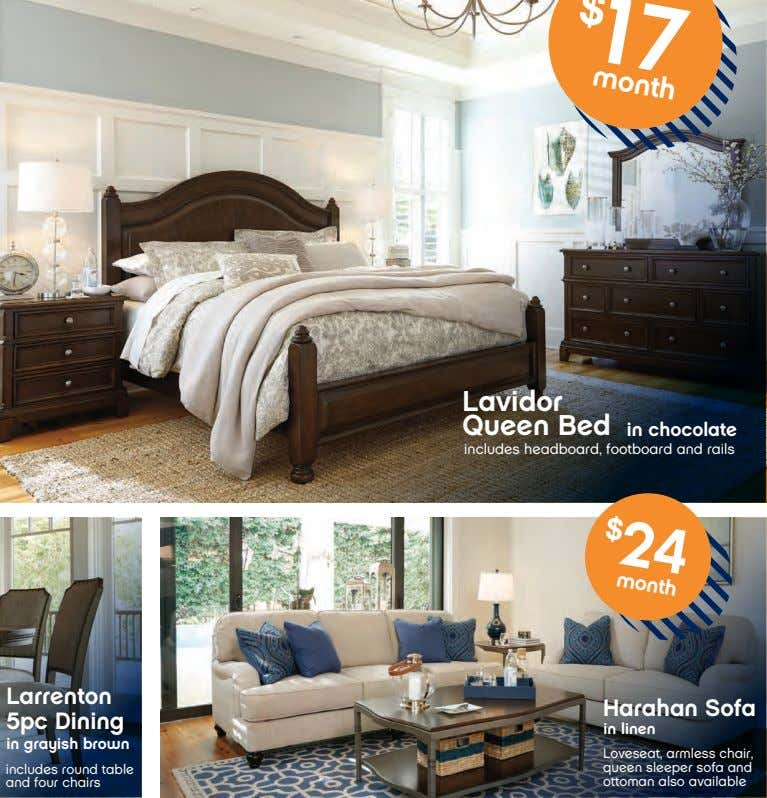 month $ Lavidor Queen Bed month in chocolate includes headboard, footboard and rails Harahan Sofa