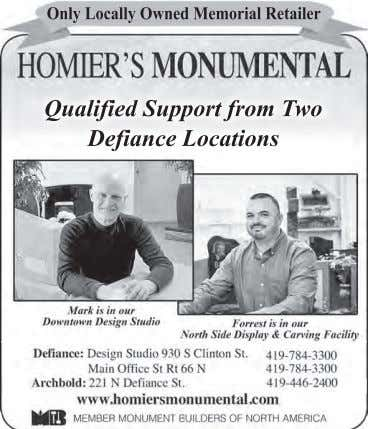 Only Locally Owned Memorial Retailer Qualified Support from Two Defiance Locations