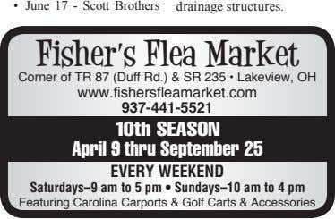 • June 17 - Scott Brothers drainage structures. Fisher's Flea Market Corner of TR 87