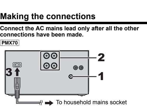 Making the connections Connect the AC mains lead only after all the other