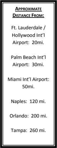 APPROXIMATE DISTANCE FROM: Ft. Lauderdale / Hollywood Int'l Airport: 20mi. Palm Beach Int'l Airport: 30mi.