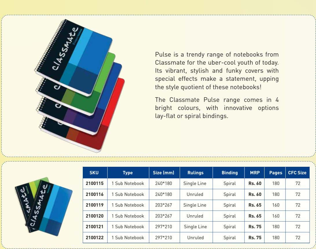 Pulse is a trendy range of notebooks from Classmate for the uber-cool youth of today.