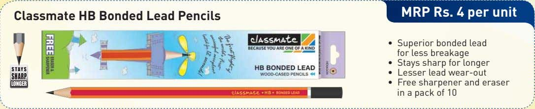 MRP Rs. 4 per unit Classmate HB Bonded Lead Pencils • Superior bonded lead for