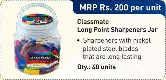 MRP Rs. 200 per unit Classmate Long Point Sharpeners Jar • Sharpeners with nickel plated
