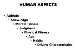 NOTES See App. A-3 thru A-8 APPARATUS DRIVER SELECTION HUMAN ASPECTS: These ingredients are those provided