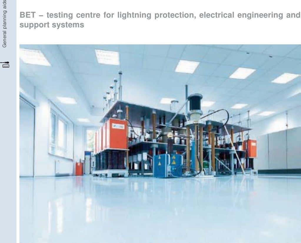 BET − testing centre for lightning protection, electrical engineering and support systems General planning aids