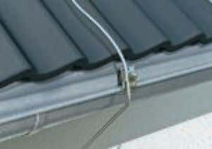 bracket • Round and flat conductors sloping roof. Amongst Conductor, connected with gutter clamp Four materials