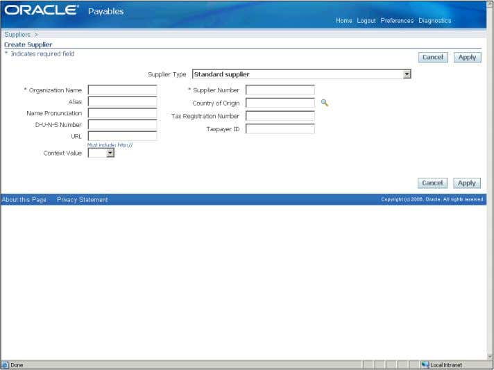 Training Guide Oracle EBS R12 Payables R2 Step Action 8. Click in the Organization Name field.