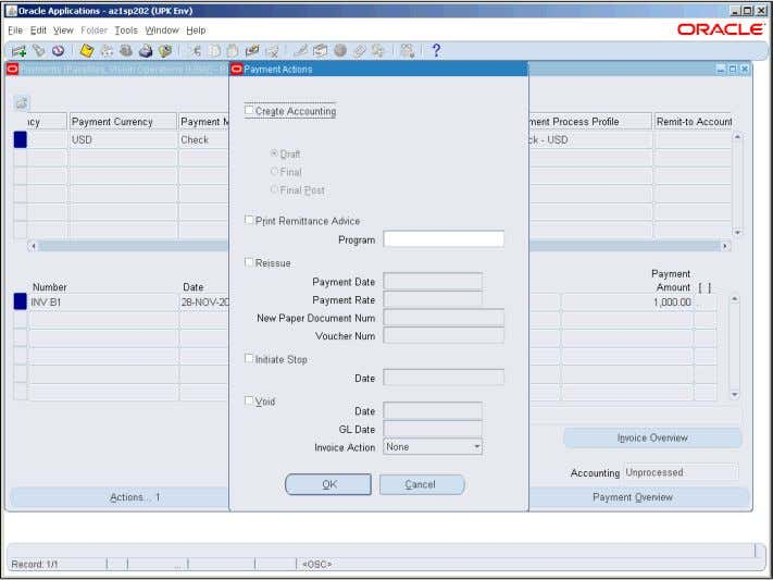 Training Guide Oracle EBS R12 Payables R2 Step Action 35. The Create Accounting option enables you