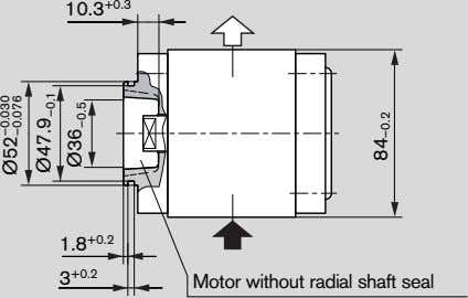 10.3 +0.3 1.8 +0.2 3 +0.2 Motor without radial shaft seal Ø52 –0.076 –0.030 Ø47.9