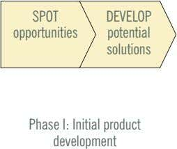 SPOT DEVELOP opportunities potential solutions Phase I: Initial product development