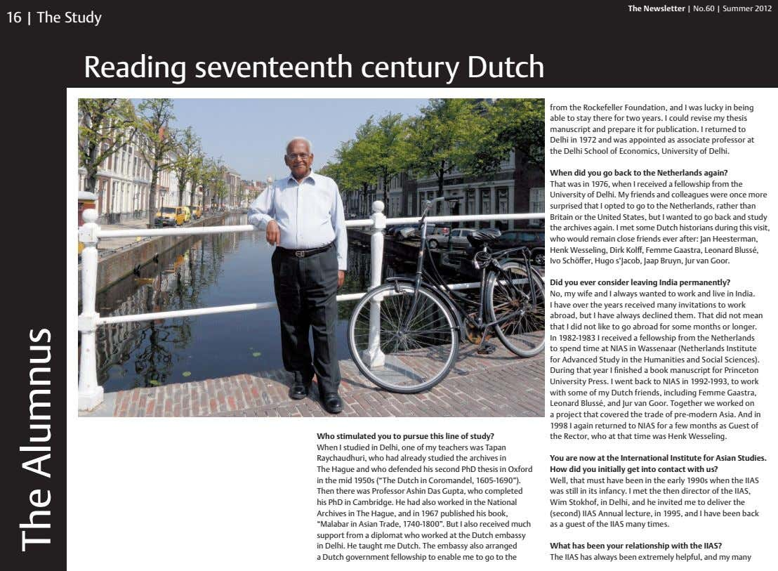 The Newsletter | No.60 | Summer 2012 16 | The Study Reading seventeenth century Dutch