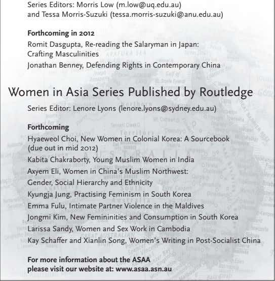 Series Editors: Morris Low (m.low@uq.edu.au) and Tessa Morris-Suzuki (tessa.morris-suzuki@anu.edu.au) Forthcoming in
