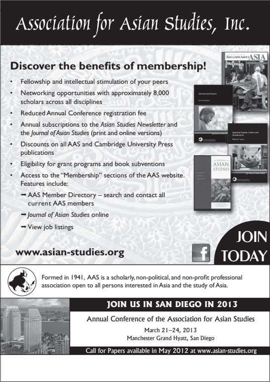 Association for Asian Studies, Inc. Discover the benefits of membership! • Fellowship and intellectual stimulation
