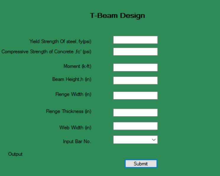 tab contain Material Strength, Moment, Shear and Dimension. Fig. 4.2: T Beam Design Module 4.3 Column