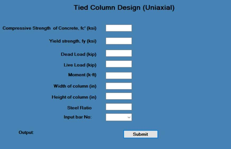 design tab contains INPUT, RESULT and REINFORCEMENT DETAILS. Fig 4.3: Column design module. 4.4 Footing Module