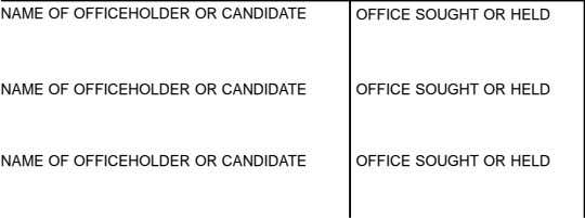 NAME OF OFFICEHOLDER OR CANDIDATE NAME OF OFFICEHOLDER OR CANDIDATE NAME OF OFFICEHOLDER OR CANDIDATE