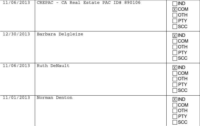 11/06/2013 Ruth DeNault 11/01/2013 Norman Denton IF AN INDIVIDUAL, ENTER OCCUPATION AND EMPLOYER AMOUNT